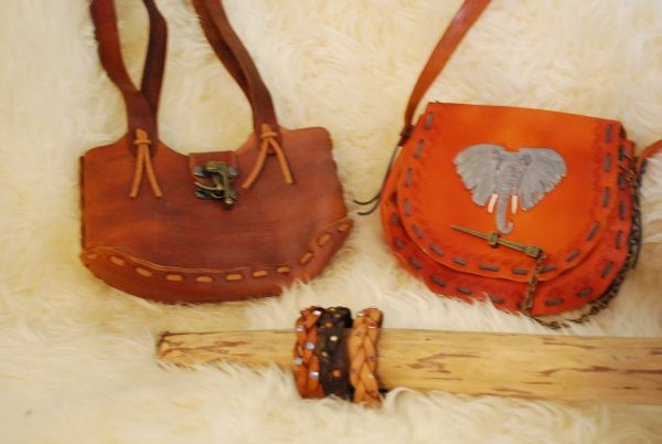 leather purses and bracelets